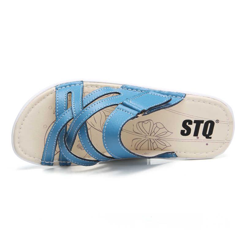 0b58ec04edc42 ... STQ 2019 Summer women slippers slip on round toe flat slides sandals  women white black leather ...