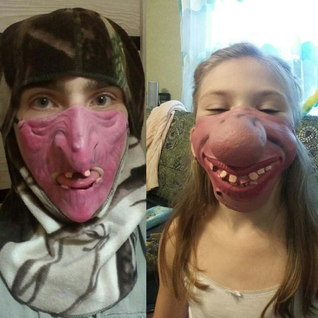 Big Teeth Latex Mask Horror Creepy Elastic Band Half Face Masks For Adults Kids Dress Up Props Masquerade Party  Halloween 4