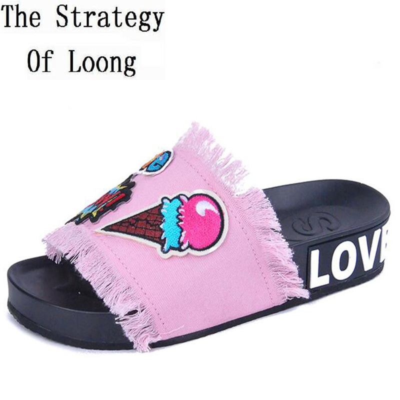 Women Summer Flat Lovely Slippers Casual Sweet Lady Slipers Comfortable Denim New Arrival Slippers 20161216 summer new arrival women casual denim
