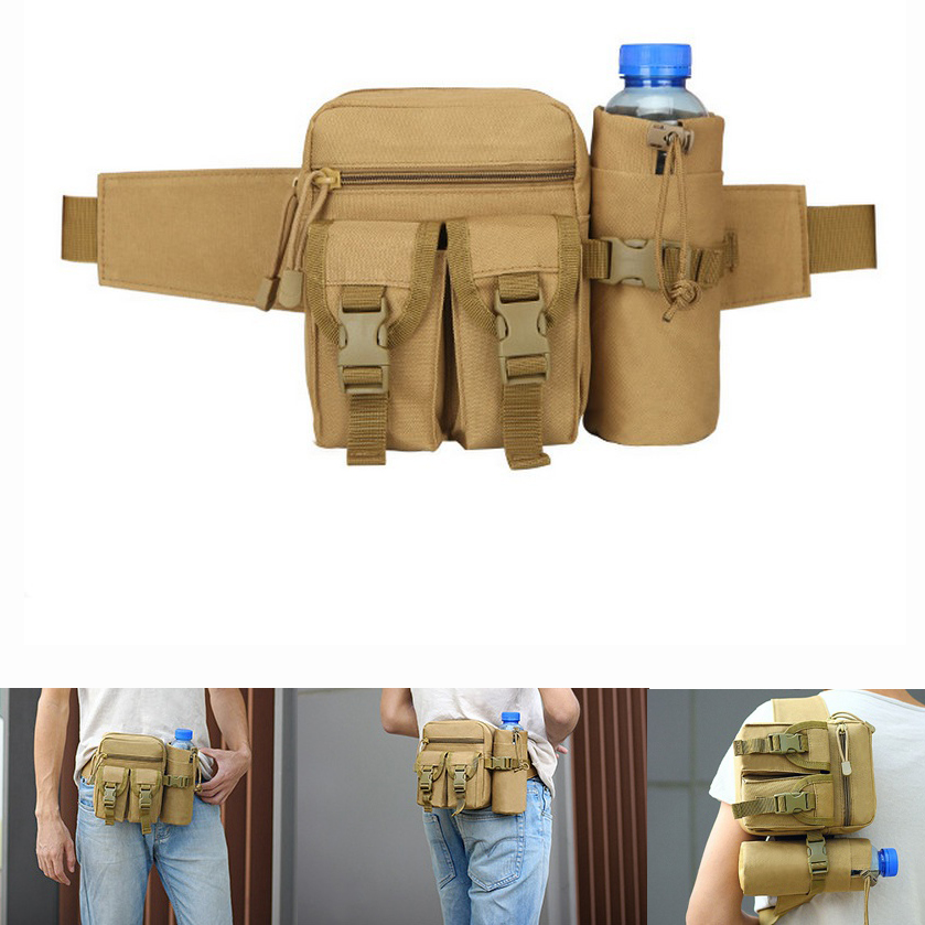 Outdoor Military Tactical Molle Travel Sports Bicycle Water bottle Kettle Holder Belt Camping Hiking Multi Function Waist Bag