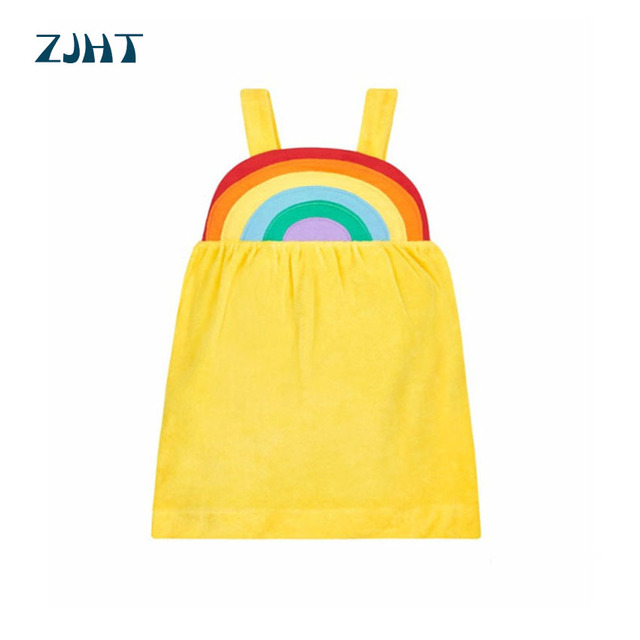 ZJHT 2019 Baby Summer Sleeveless Dress For Girls Clothes Children Yellow Rainbow Dot Floral Cotton Kids Multicolor Dresses MY073