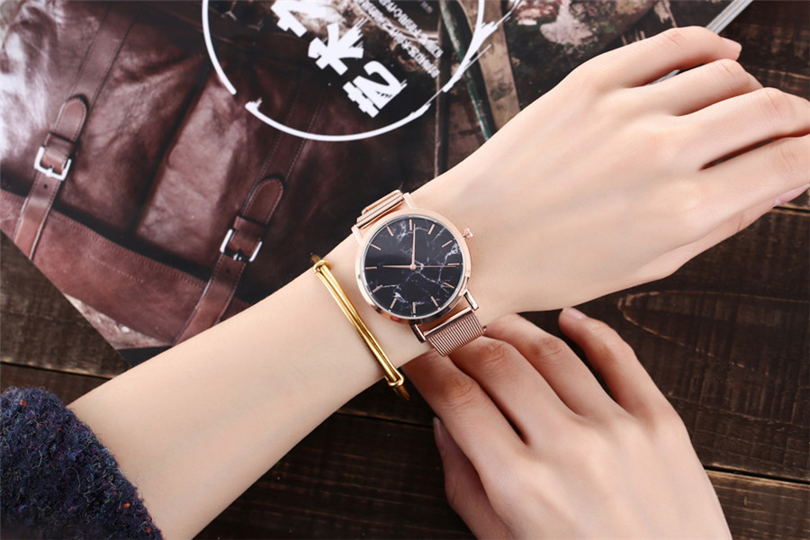 Vansvar Brand Fashion Silver And Gold Mesh Band Creative Marble Wrist Watch Casual Women Quartz Watches Gift Relogio Feminino 2
