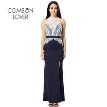 VI1028 Comeonlover Contrast Lace Party Split Dress High Quality Ukraine Woman Dress Summer Halter Patchwork Vestido De Festa