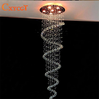 D55CM Modern Led Spiral Lustre Crystal Ceiling Light Fixtures Long Stair Light For Staircase Hotel Foyer