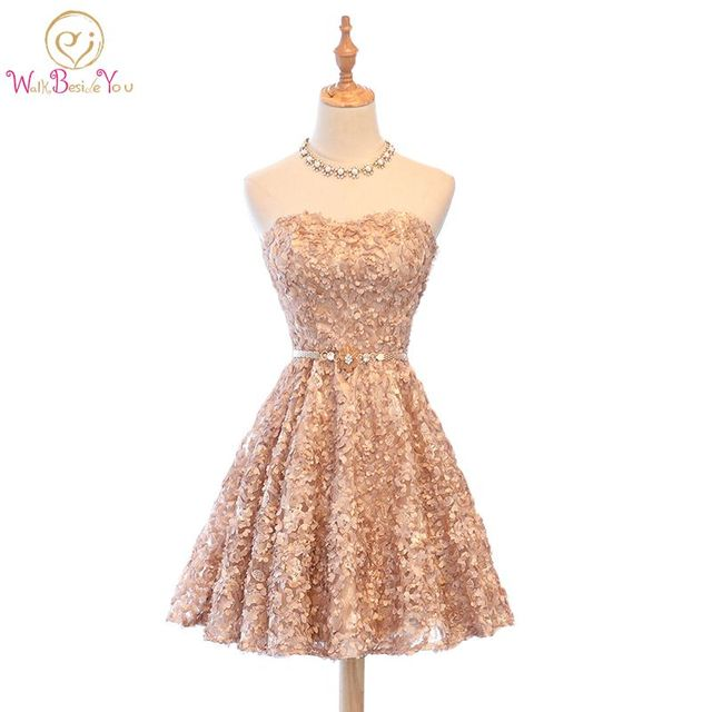 Walk Beside You Gold Cocktail Dress Party Lace Applique Floral Party Dresses  Sleeveless A-line Short Party Formal Gowns 3d206c091f3a