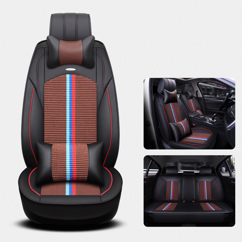 (Front + Rear) Universal Ice Silk Leather car seat covers For Suzuki Jimny Grand Vitara Kizashi Swift Alto SX4 Palette styling