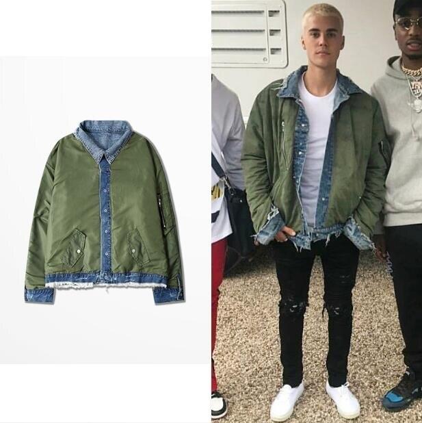 Blouson aviateur réversible MA1 style Justin Bieber manteau de vol pilote réversible jean Denim et pardessus vert armée hommes et femmes