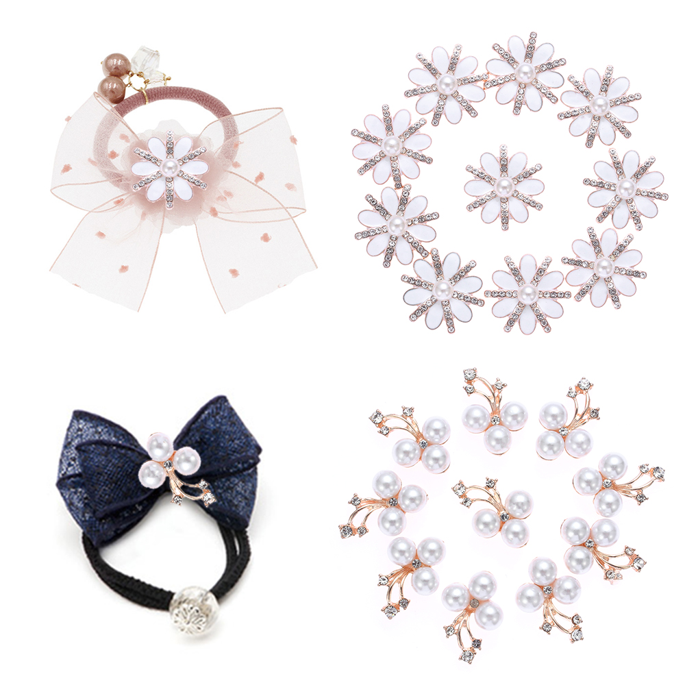 10pcs/set Flower Rhinestones Buttons Pearl Button Wedding Decoration Diy Alloy Crystal Bow Accessories Garment Decorative
