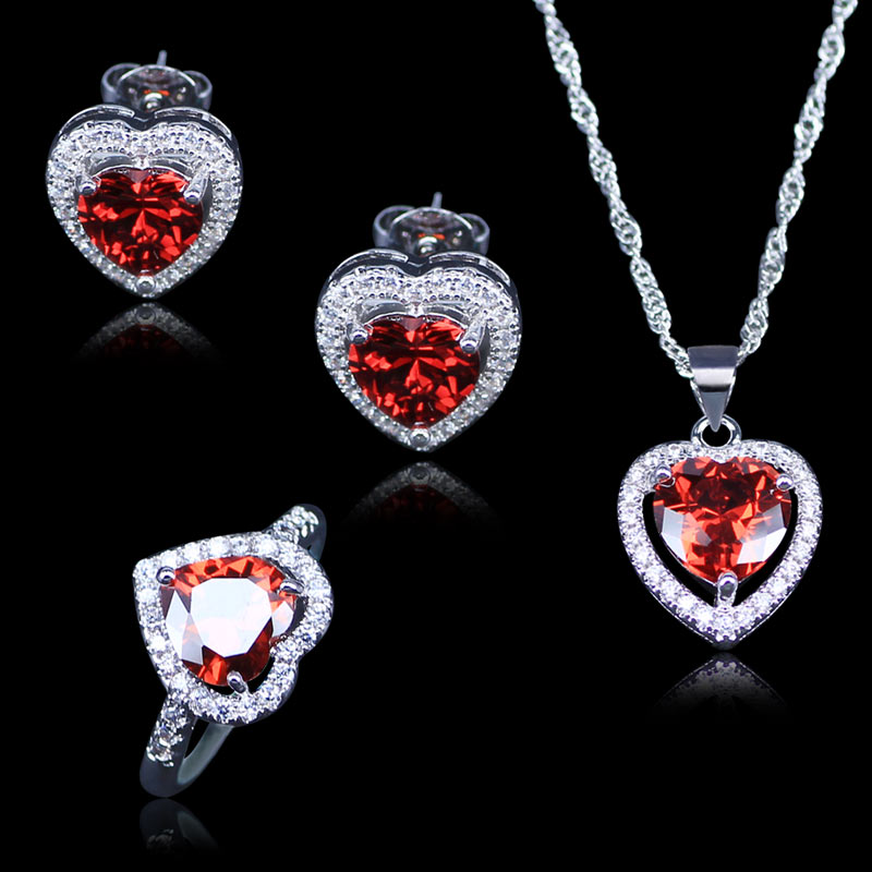 Best Wedding Jewelry For Women/Lady Red Heart Created Garnet White Zircon Silver Color Jewelry Sets earrings Rings