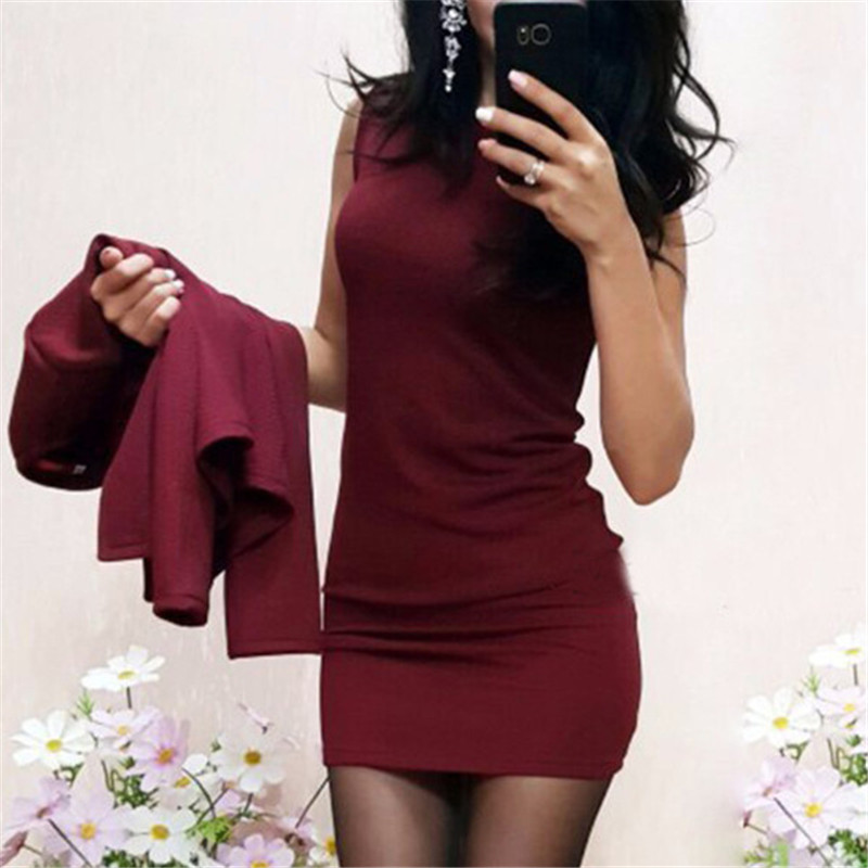 Sexy Sheath O-Neck Above Knee Mini Dress Suits Femme 2019 Fashion Spring Autumn Full Sleeve Casual Hipster Two Pieces Women Sets