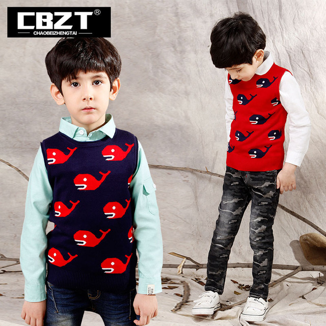 Cbzt Free Shipping Knitted Cotton Whale Pattern British Kids Sweater