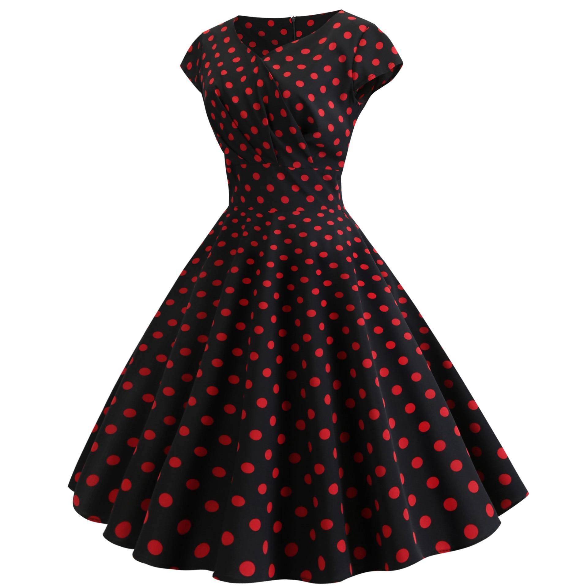 Black White Polka Dot Vintage Dress Summer Women Sleeveless Retro Robe Rockabilly Dresses Party Jurkjes Vestidos in Dresses from Women 39 s Clothing