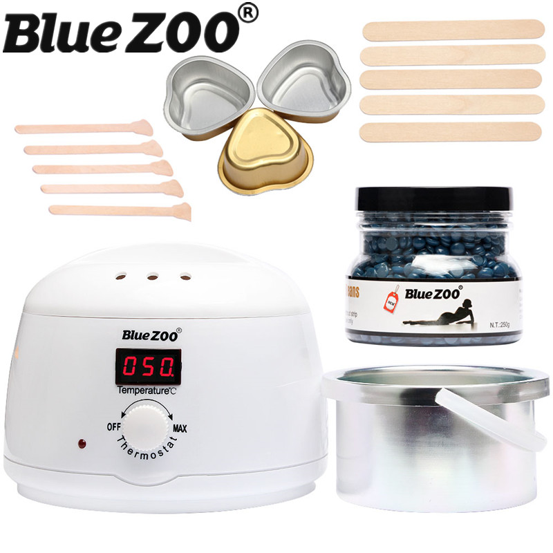 BlueZOO Depilatory Body Hair Removal Set 500cc Hot Wax Warmer Heater Machine with 250g Hot Hard Wax Beans Pellet Beauty depilatory wax warmer hard wax beans hair removal black wax machine 250g natural beans for beauty spa epilation