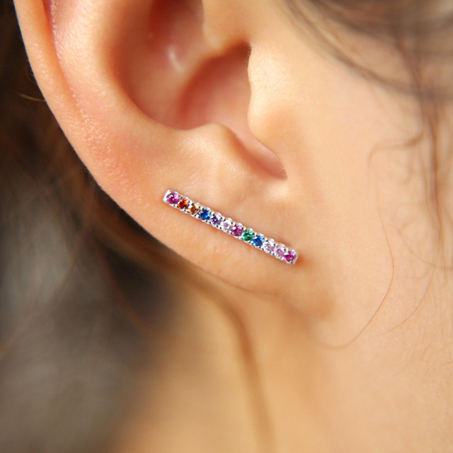 Simple Design Real 925 Sterling Silver Bar Earrings Thin Tiny Line Stud Rainbow Cz Minimalist