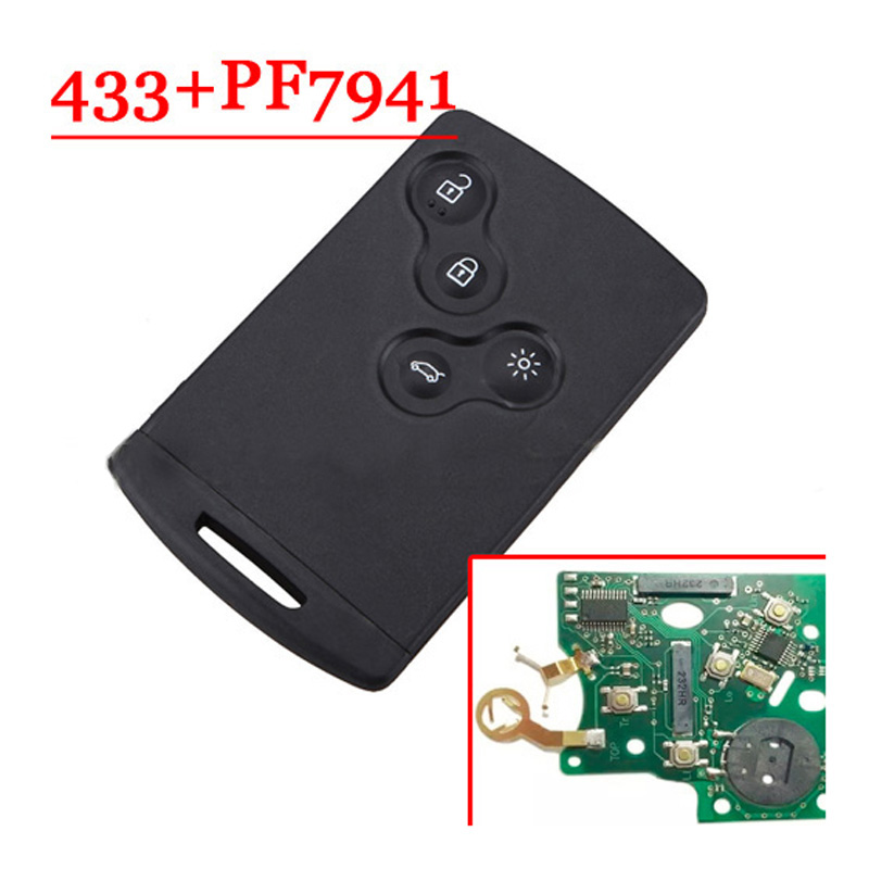 4 Buttons Remote Smart Card For Renault Koleos 7941 / 7952 Chip