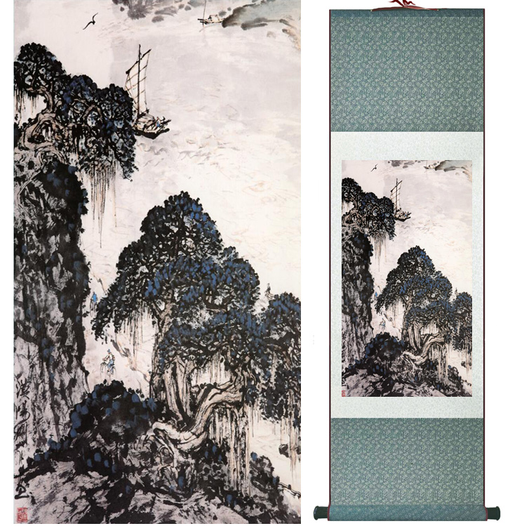landscape painting Home Office Decoration Chinese scroll painting mountain and River paintingPrinted painting050505