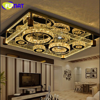 FUMAT Air Bubbles Brick Crystal Stainless Steel Ceiling Lamps LED Hanging Light Fixture Remote control Warm Cool Natural White