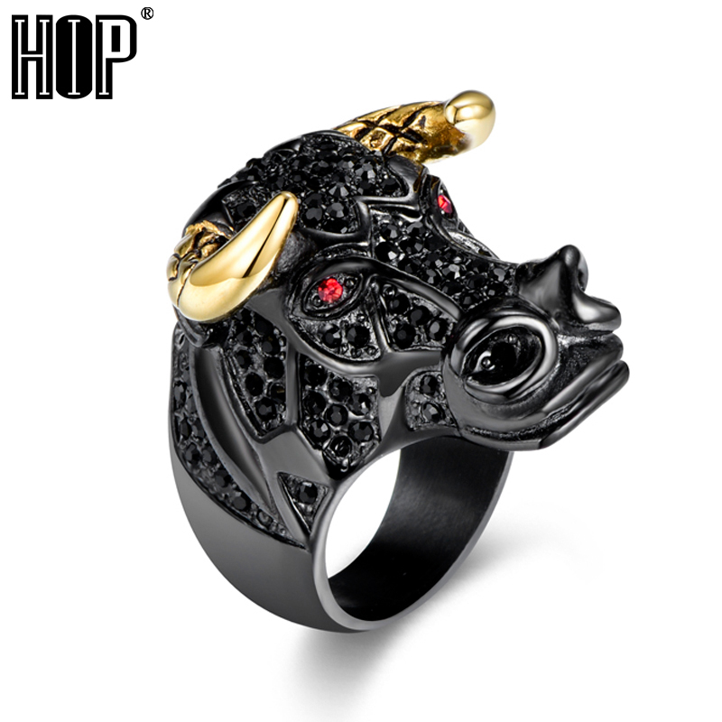 HIP Hop Micro Pave Rhinestone Animal Bull Head Ring Black/Gold Color 316L Stainless Steel Tau Rings Mens Rock Rapper Jewelry trendsmax ring for men 316l stainless steel gold silver color illuminati pyramid eye ring hip hop jewelry accessories hr365
