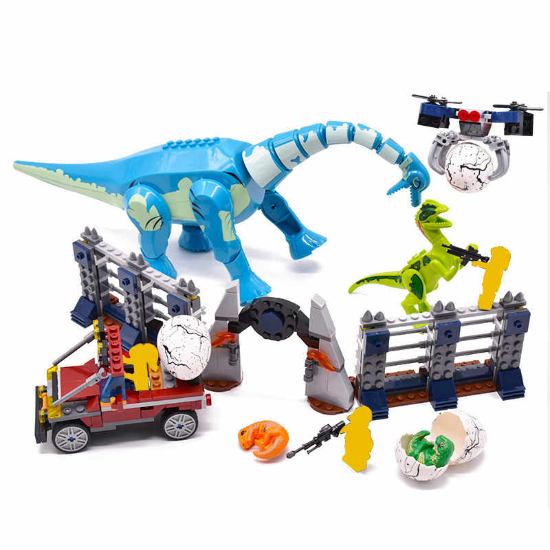 Jurassic World Brachiosaurus Velociraptor 2 Dinosaur park Figures Dino Building Blocks Bricks diy Toys Boys birthday gifts