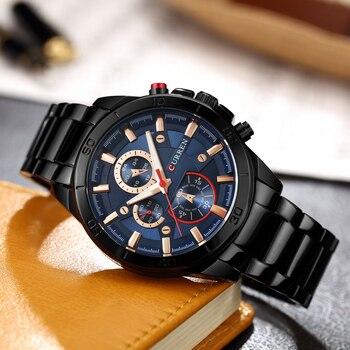 Mens Watches Curren Brand Luxury Gold Black Steel Quartz Watch Men Fashion Casual Business Wristwatches Relogio Masculino 8275 2
