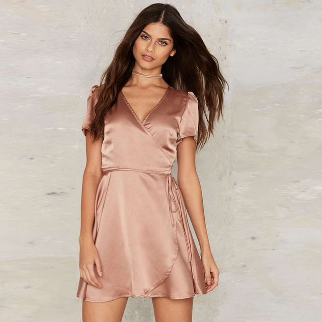 Vindima Camisola de Cetim Nightgowns Nighties Confortável Deslizamento Bonito Artificial de Seda Sleepwear manga V senhoras pescoço curto mini satin