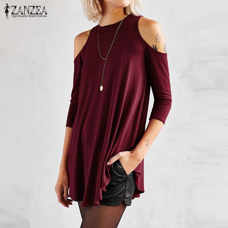 ZANZEA Women 2018 Sexy Blusas Casual Loose O Neck Half Sleeve Long Blouses Tops Irregular Off Shoulder Solid Shirts Plus Size