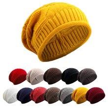 dcba4f3bb748d Warm Women Winter Caps Soft Wool Knitted Hat Oversized Slouchy Beanie Hat  Men Fashion Solid Crochet