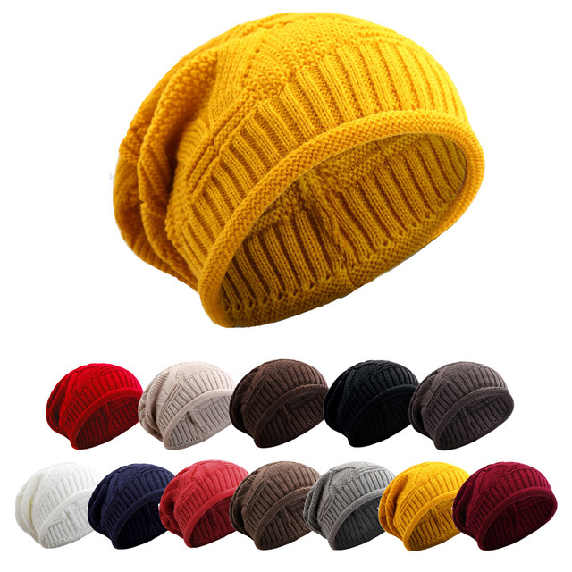 Warm Women Winter Caps Soft Wool Knitted Hat Oversized Slouchy Beanie Hat  Men Fashion Solid Crochet Skullie Beanies Cap 12 color 815fb1c58a8