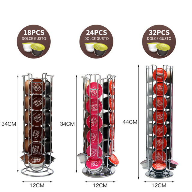 18/24 /32Cups Rotatable Coffee Pod Holder Iron Chrome Plating Display Capsule Rack Stand Storage Shelves For Dolce Gusto Capsule