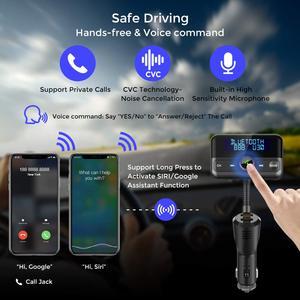 Image 2 - BT75S nadajnik FM Bluetooth tak/nie sterowanie głosem zestaw głośnomówiący zestaw samochodowy z MP3 odtwarzacz podwójna ładowarka samochodowa USB szybkie ładowanie 3.0 ładowarka samochodowa