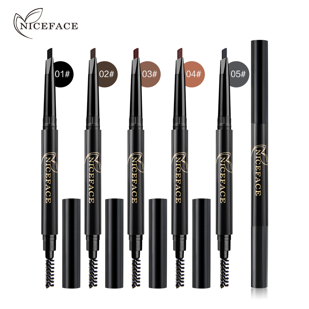 NICEFACE Pro Eyebrow Pencil Waterproof Long Lasting Eyebrow Enhancer Makeup Brown Black Brows Liner with Brush Cosmetic Kit Tool