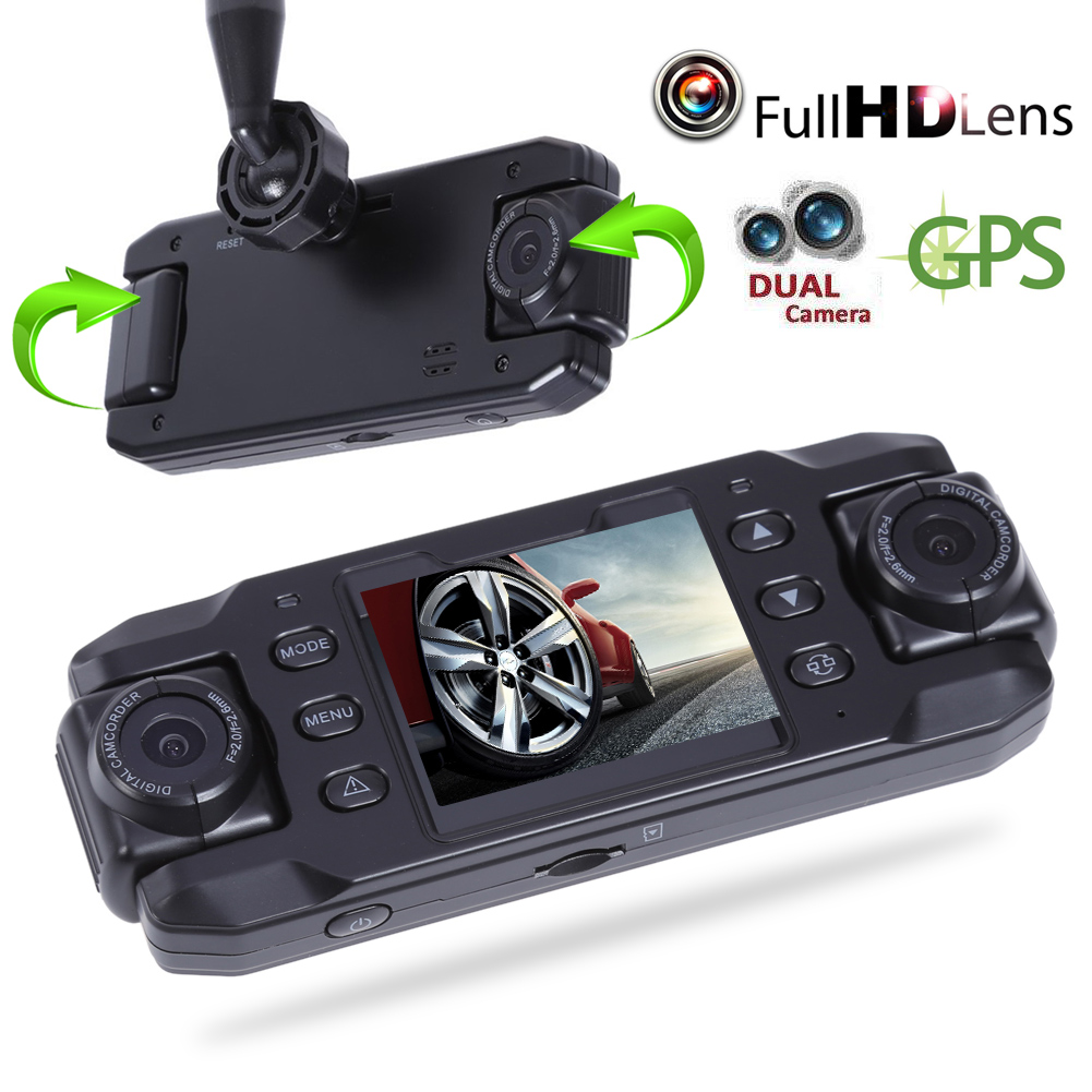 720P Dual Lens Car DVR  Bult in GPS  Dash Cam  Dashboard 140 Degree  Night Vision Digital Video Recorder a9 3 0inch 140 degree 1626 car dvr dash cam gold