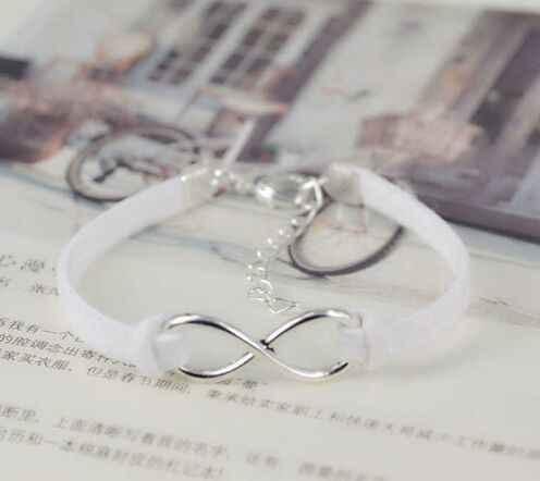 1PC ファッションインフィニティロープブレスレット手織りシルバー韓国ベルベットの革のファッションラップ革の宝石 7514-7526