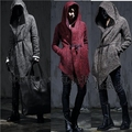 Male woolen overcoat long jacket Hooded cool windbreaker coat slim casual fashion singer dancer stage clothing prom bar show