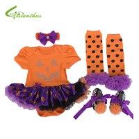 Baby GIrls Halloween Costumes Pumpkin Romper Dress Headband Shoes Leg Warmer Clothing Set Cosplay Party Clothes