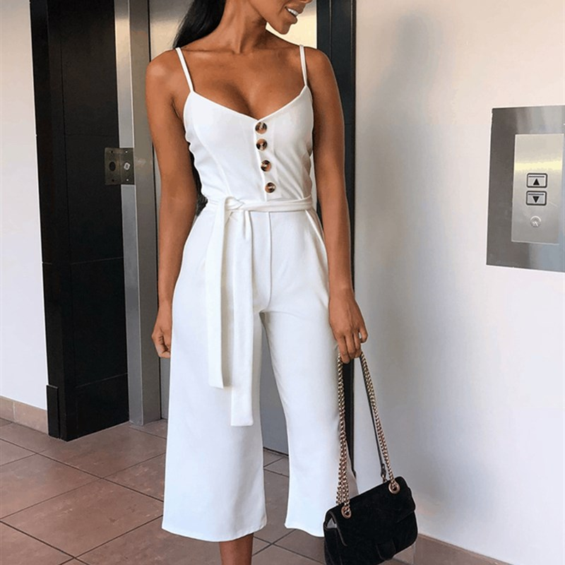Deep V-neck Strapless   Jumpsuit   Women Sexy Lace Up Playsuit Solid Wide Leg Overalls