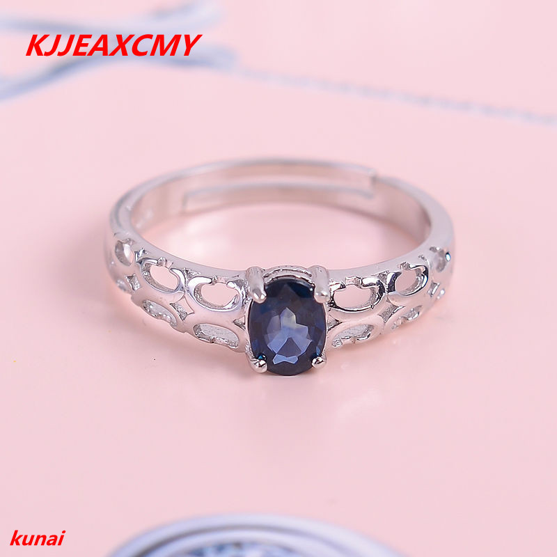 KJJEAXCMY fine jewelry 925 Silver inlaid with natural sapphire ring.jewelry.afiop