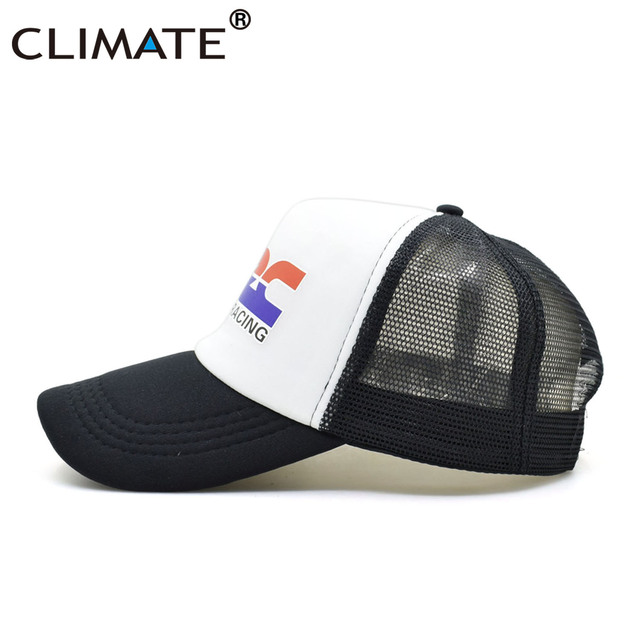 CLIMATE Men New Cool Trucker Caps HRC Honda Racing Car Motorcycle Fans Cap Cool Summer Baseball Mesh Net Hip Hop Cap Hat For Men 4
