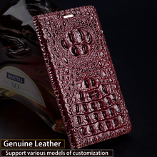 Wangcangli En Cuir Véritable étui pour iPhone 8 X Crocodile Dos Texture Téléphone Housse Pour iPhone 6 6 S 7 Plus Cas