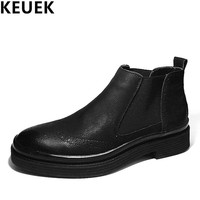 Autumn Winter Men Chelsea Boots Genuine Leather Slip On Ankle Boots Male Brogue Shoes Motorcycle Boots
