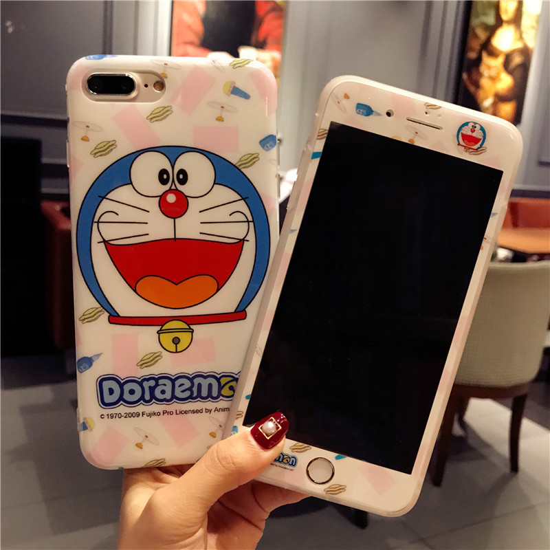 For iphone 8 8plus Cartoon Doraemon phone Cases Cover + Tempered Glass Screen Protector Case for iPhone X 6 6sPlus 7 7plus Fudas