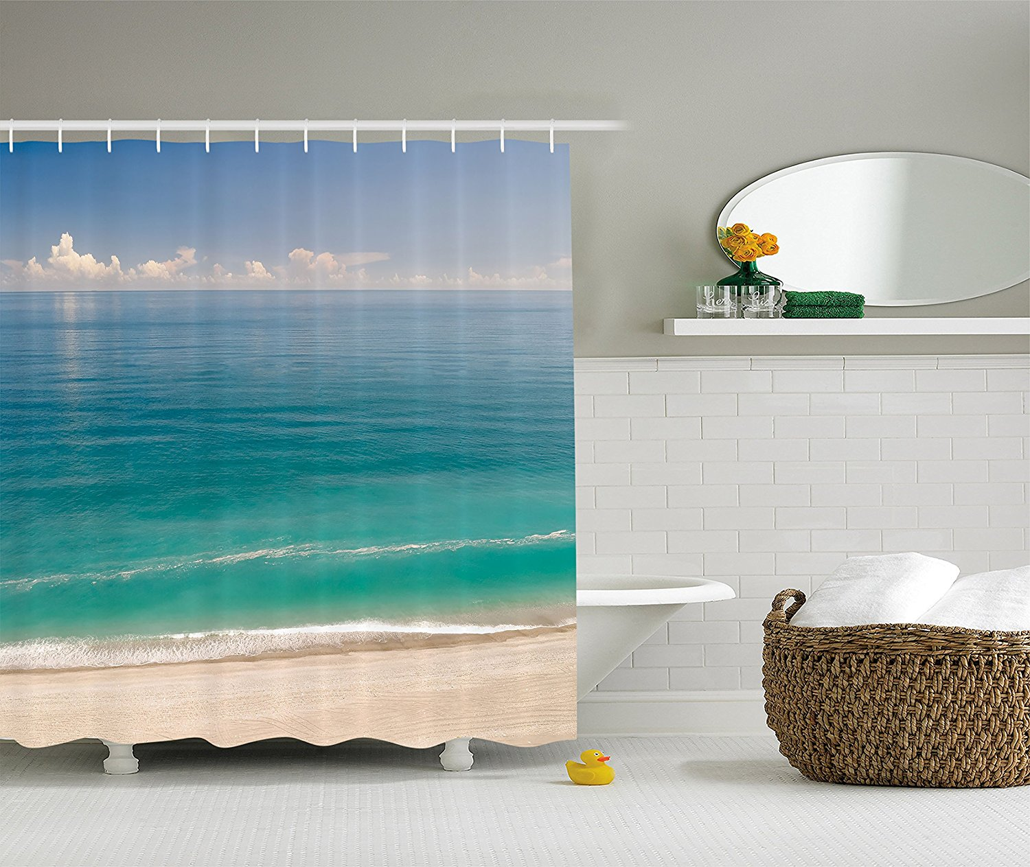 Ocean shower curtains - Surfing Waves Nature Art Ocean Sea Sports Beach Pictures Polyester Fabric Bathroom Shower Curtain Set