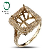 CaiMao Emerald cut Semi Mount Ring Settings & 1.16ct Diamond 18k Yellow Gold Gemstone Engagement Ring Fine Jewelry