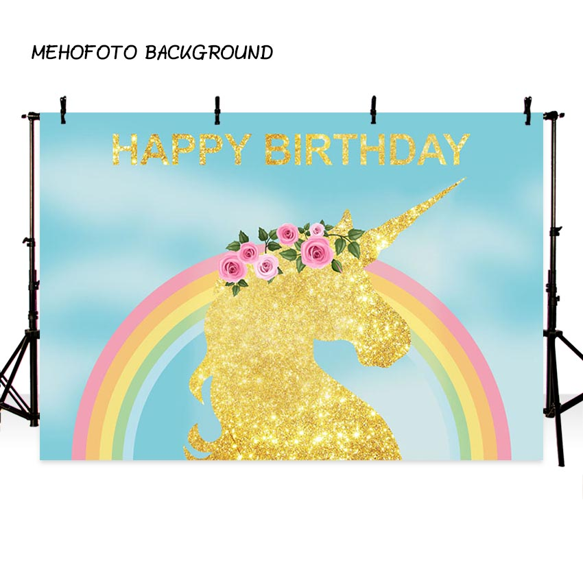 MEHOFOTO Rainbow Unicorn Theme Party Photography Backdrop Happy Birthday Baby Backdrop for Photo Booth Background LV-3000 happy birthday colorful flags birthday party outdoor custom photo backdrop photography backgrounds