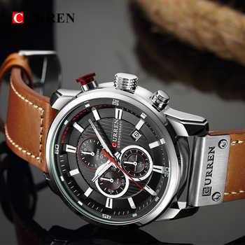 CURREN Luxury Brand Men Military Sport Watches Men\'s Quartz Clock Leather Waterproof Date Wristwatch Reloj Hombre 8291