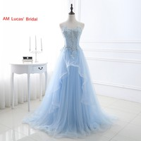 Ice Blue Sexy A Line Evening Dress 2017 Tulle Appliques Women Formal Gown For Prom Wedding