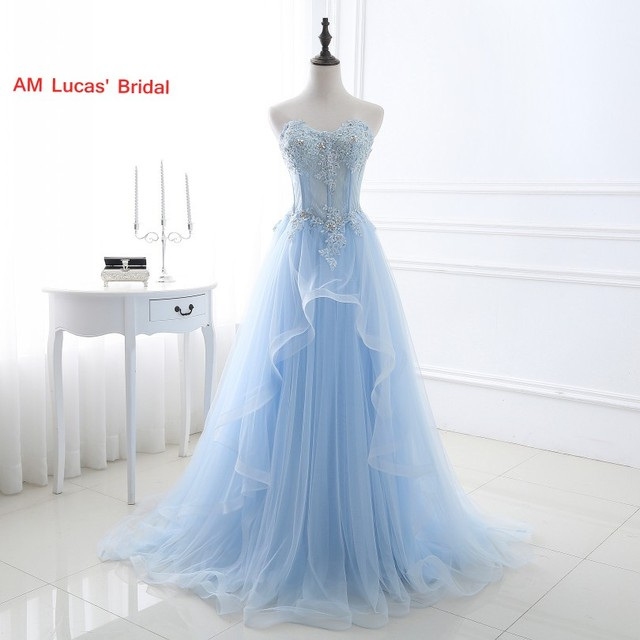 6802be91e48 Ice Blue Sexy A Line Evening Dress Tulle Appliques Women Formal Gown For  Prom Wedding Party Dresses Robe De Soiree