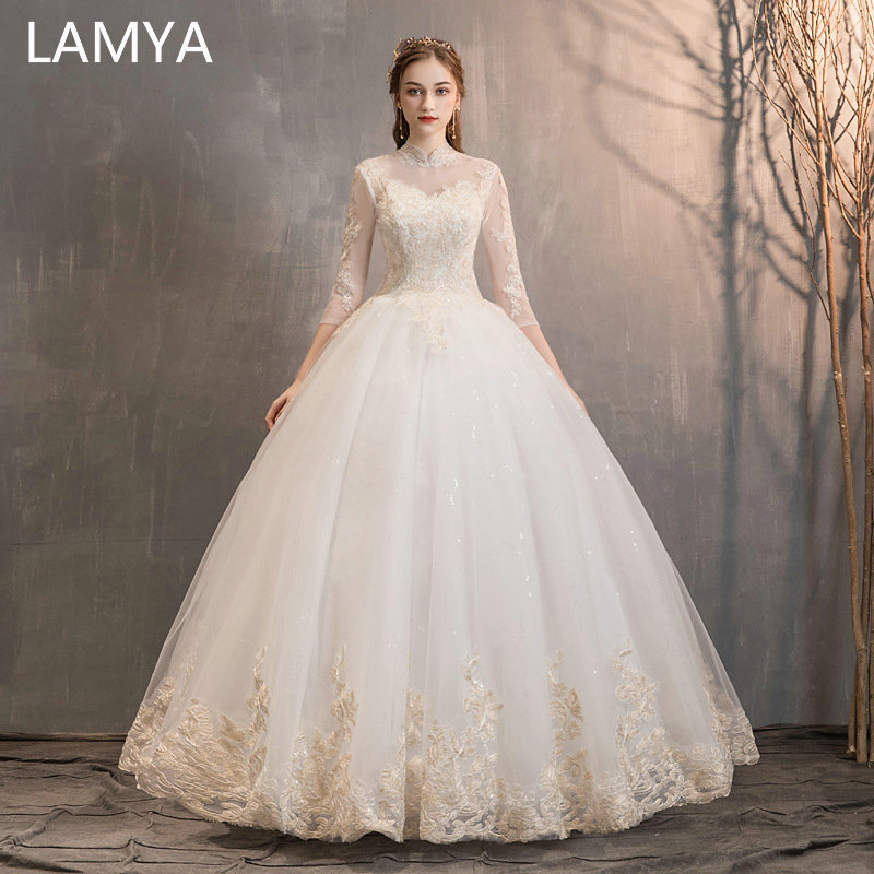 LAMYA High Neck Embroidery Wedding Dress With Three Quarter 2019 Bridal Gown Princess Elegant Vestido De Noiva Bride gelinlik