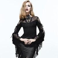 Devil Fashion Palace Style Princess Black Sexy See through Lace Shirt Gothic Women Swallowtail Fashion Party T Shirt Tee Tops