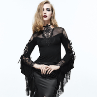 Devil Fashion Palace Style Princess Black Sexy See through Lace Shirt Gothic Women Swallowtail Fashion Party T Shirt Tee Tops